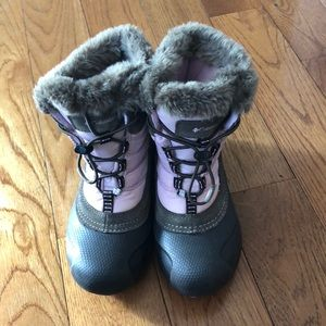 Pink and brown girls Columbia winter boots